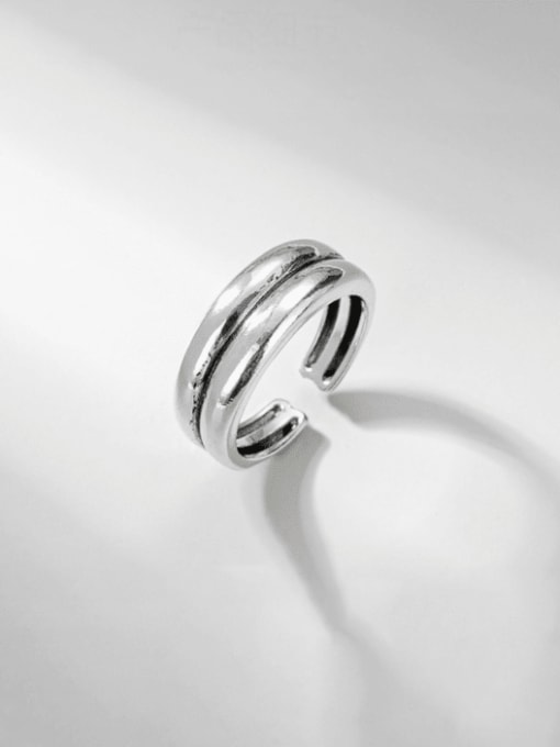 Double ring 925 Sterling Silver Irregular Vintage Stackable Ring