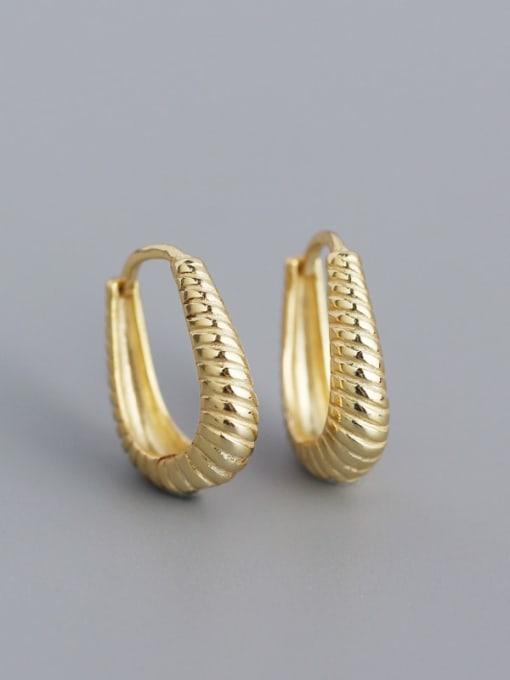 Golden 925 Sterling Silver Geometric Hip Hop Huggie Earring