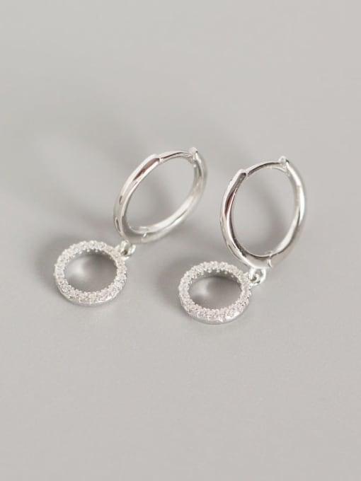 Platinum 925 Sterling Silver Cubic Zirconia Geometric Vintage Huggie Earring
