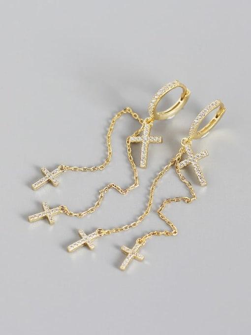 Gold 925 Sterling Silver Cubic Zirconia Cross Minimalist Threader Earring