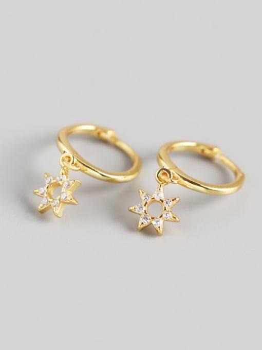 Gold 925 Sterling Silver Rhinestone White Star Cute Huggie Earring