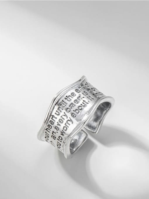 Wide face letter ring 925 Sterling Silver Geometric Vintage Band Ring