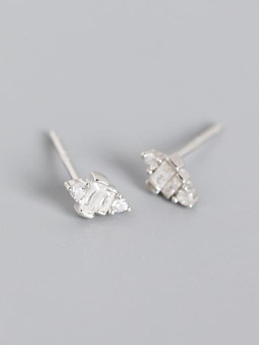 Platinum 925 Sterling Silver Cubic Zirconia Geometric Artisan Stud Earring