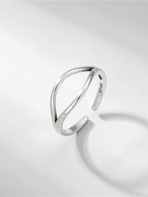 Double split ring 925 Sterling Silver Geometric Minimalist Band Ring