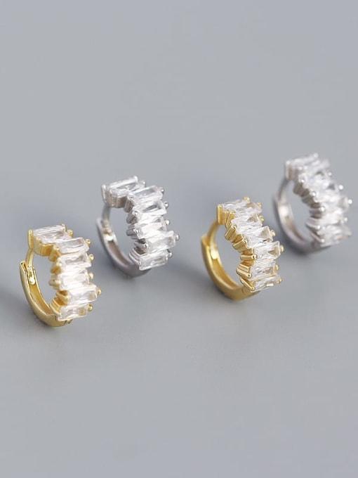 ACE 925 Sterling Silver Cubic Zirconia Geometric Vintage Huggie Earring 1