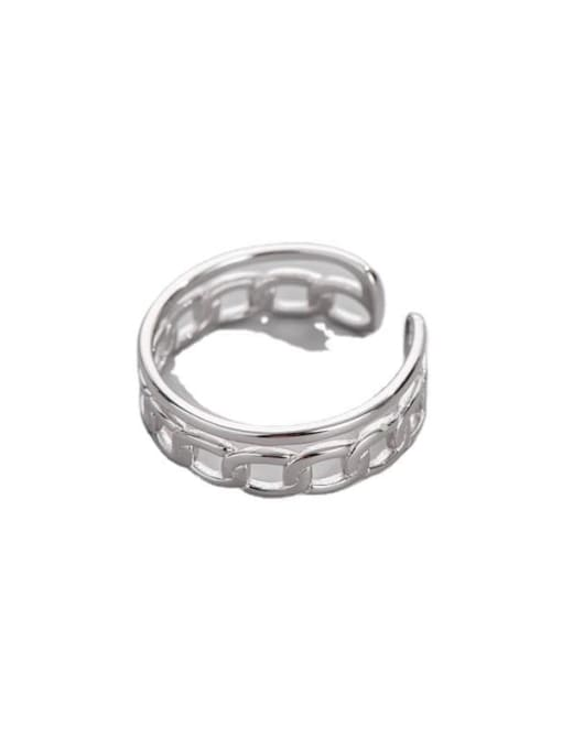 ARTTI 925 Sterling Silver Geometric Chain Vintage Band Ring 2