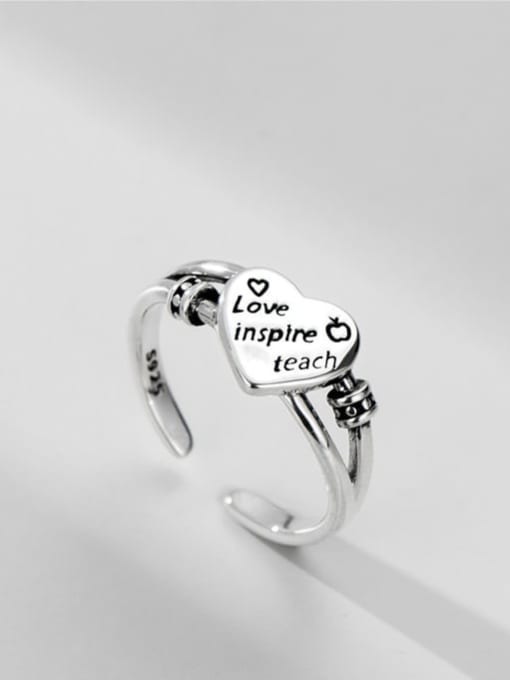 ARTTI 925 Sterling Silver Heart Vintage Band Ring