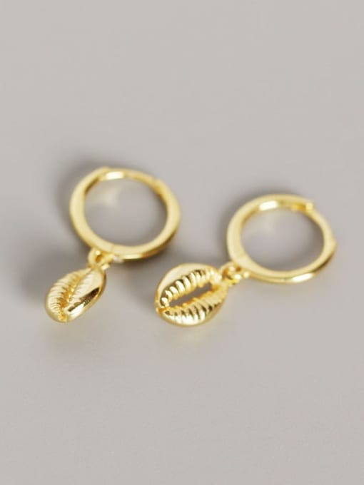 Gold 925 Sterling Silver Shell Trend Huggie Earring