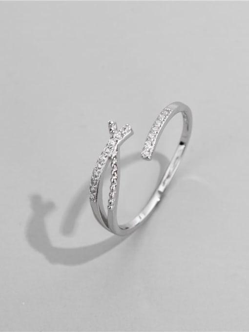 ARTTI 925 Sterling Silver Cubic Zirconia Irregular Minimalist Band Ring 0