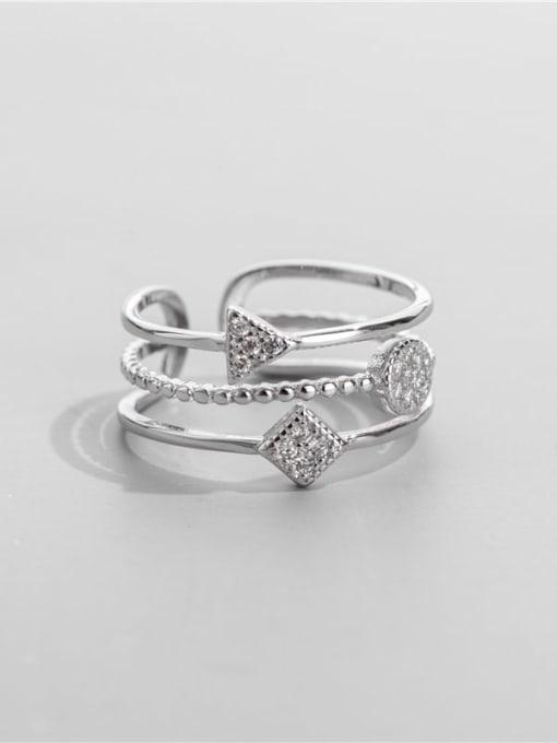 ARTTI 925 Sterling Silver Cubic Zirconia Geometric Minimalist Stackable Ring 0