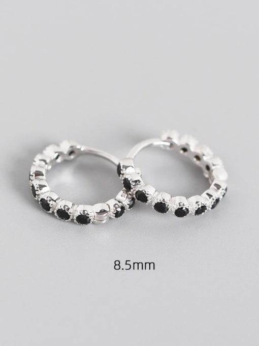 8.5mm platinum black stone 925 Sterling Silver Cubic Zirconia Geometric Minimalist Huggie Earring