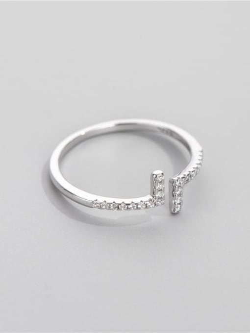 Straight line ring 925 Sterling Silver Cubic Zirconia Geometric Minimalist Band Ring