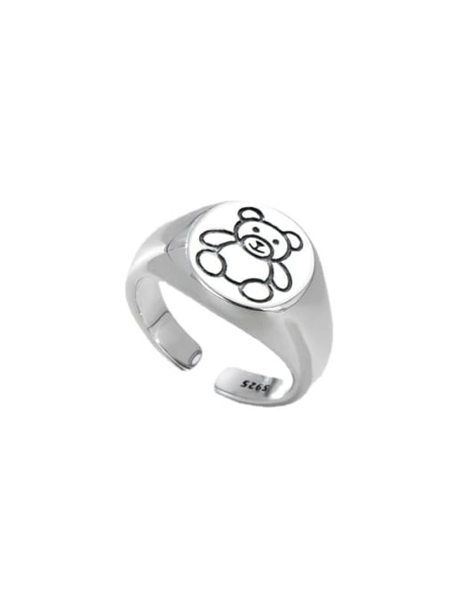 ARTTI 925 Sterling Silver Bear Vintage Band Ring 3
