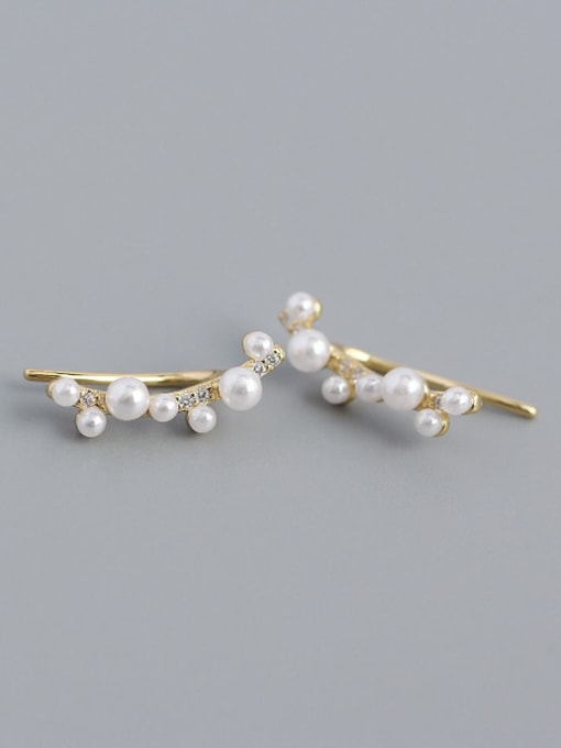 Golden 925 Sterling Silver Imitation Pearl Geometric Minimalist Stud Earring