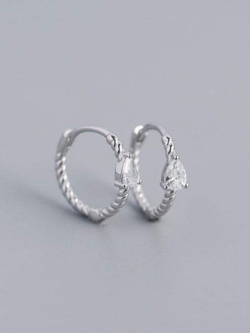 Platinum (white stone) 925 Sterling Silver Cubic Zirconia Geometric Trend Huggie Earring