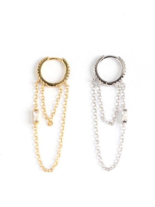 ACE 925 Sterling Silver Tassel Chain Minimalist Huggie Earring 4