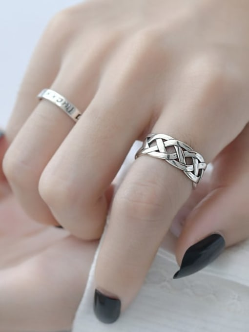 ARTTI 925 Sterling Silver Hollow Geometric Vintage Band Ring 1