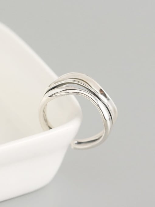 ACE 925 Sterling Silver Geometric Artisan Band Ring 2