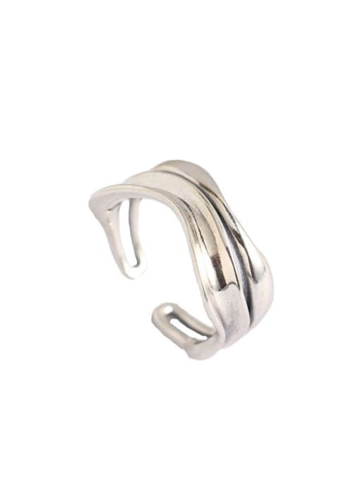 ACE 925 Sterling Silver Geometric Artisan Band Ring 3