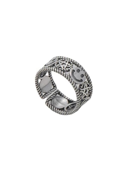Expression bag ring 925 Sterling Silver Smiley Vintage Band Ring