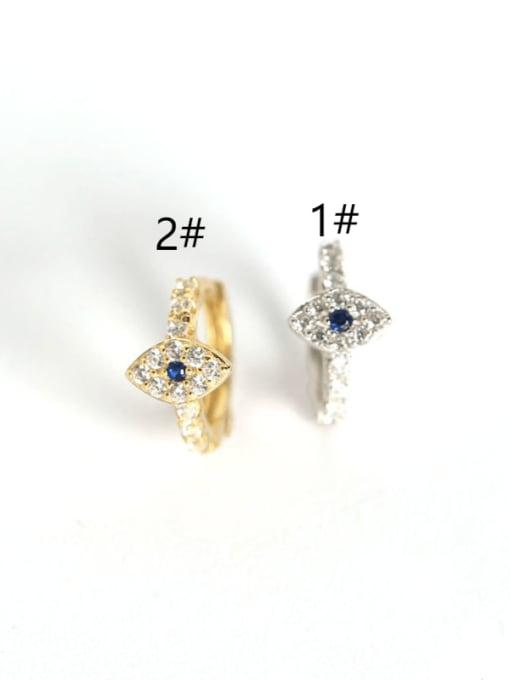 ACE 925 Sterling Silver Rhinestone White Evil Eye Gold Plated Trend Huggie Earring