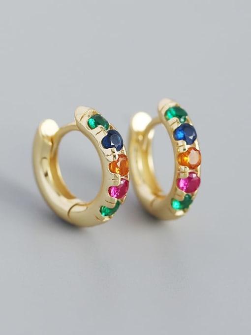 Gold (colored stone) 925 Sterling Silver Rhinestone Geometric Vintage Huggie Earring