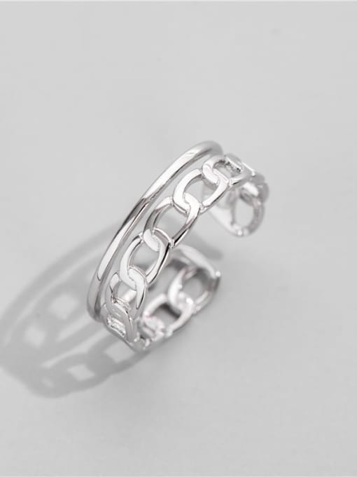 ARTTI 925 Sterling Silver Geometric Chain Vintage Band Ring 1