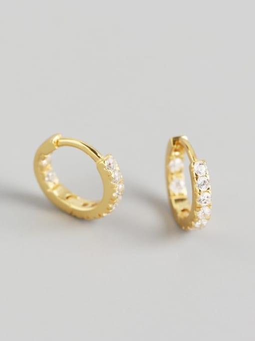 Gold 925 Sterling Silver Rhinestone White Geometric Minimalist Huggie Earring