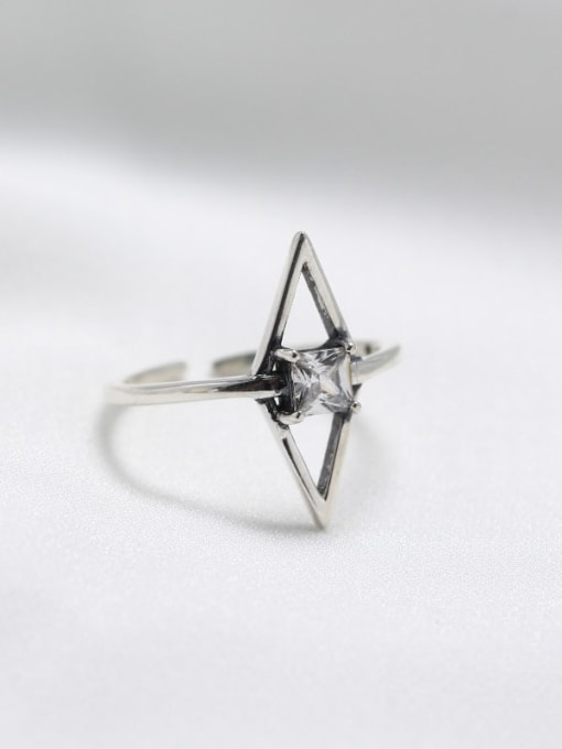 ACE 925 Sterling Silver Cubic Zirconia White Geometric Minimalist Solitaire Ring 1