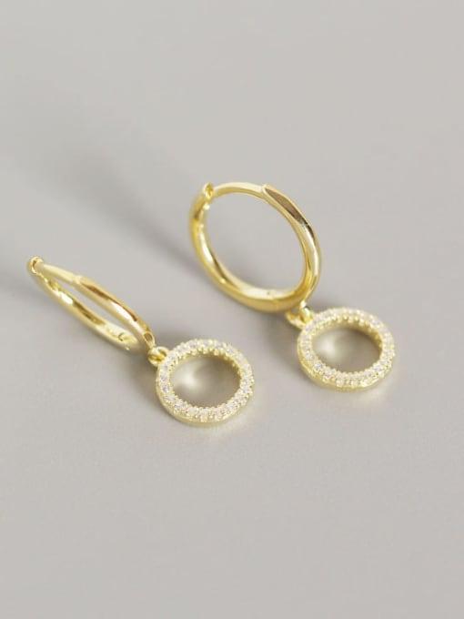 Gold 925 Sterling Silver Cubic Zirconia Geometric Vintage Huggie Earring