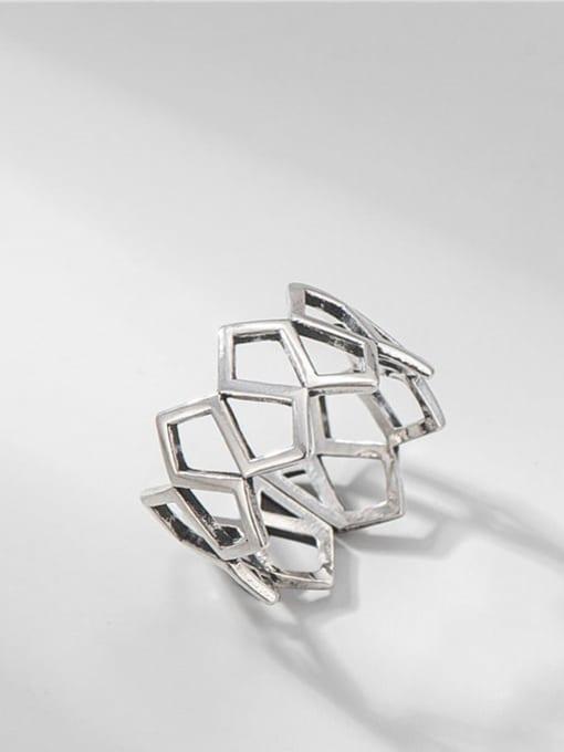 Diamond mesh ring 925 Sterling Silver Geometric Vintage Band Ring