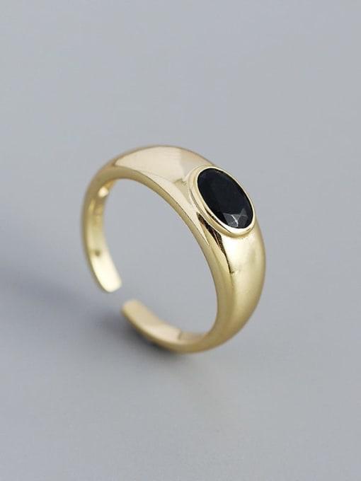 Golden 925 Sterling Silver Enamel Geometric Minimalist Band Ring
