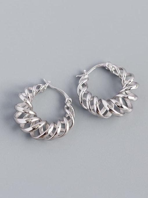 Platinum 925 Sterling Silver Geometric Vintage Huggie Earring