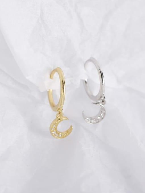 ACE 925 Sterling Silver Rhinestone White Moon Trend Huggie Earring 1