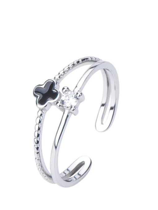 ARTTI 925 Sterling Silver Enamel Clover Minimalist Stackable Ring 2