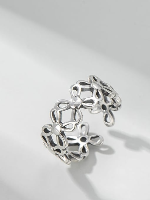 Hollow clover ring 925 Sterling Silver Hollow Clover Vintage Band Ring