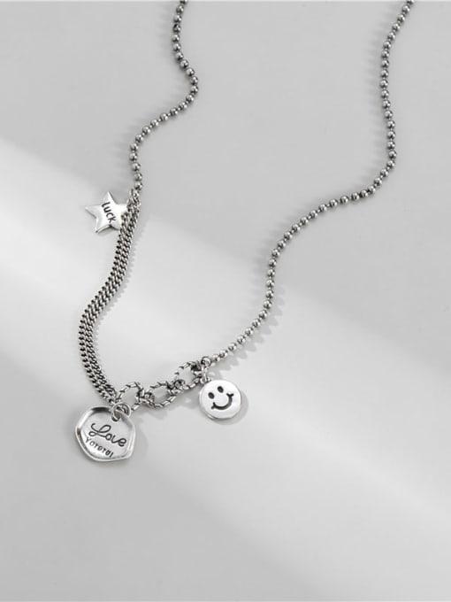 ARTTI 925 Sterling Silver Geometric Vintage Asymmetric chain Necklace 2