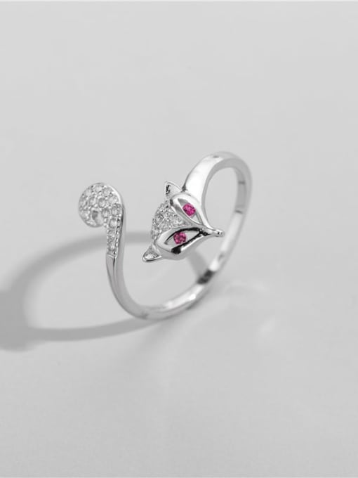 Fox ring 925 Sterling Silver Cubic Zirconia Fox Cute Band Ring