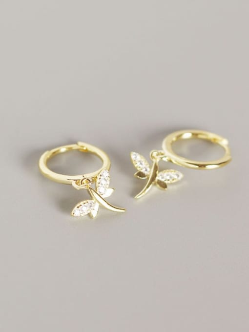 Gold 925 Sterling Silver Dragonfly Trend Huggie Earring