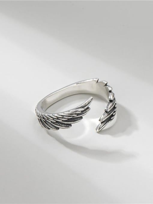 ARTTI 925 Sterling Silver Wing Vintage Band Ring 0