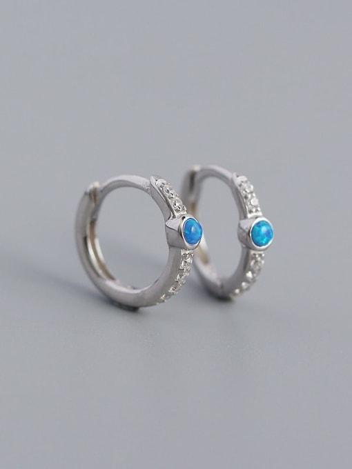 Platinum 925 Sterling Silver Opal Geometric Vintage Huggie Earring