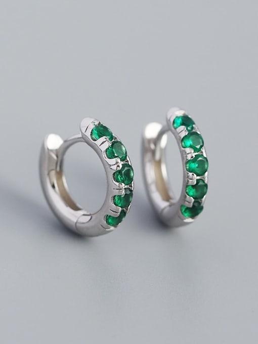 Platinum (greenstone) 925 Sterling Silver Rhinestone Geometric Vintage Huggie Earring