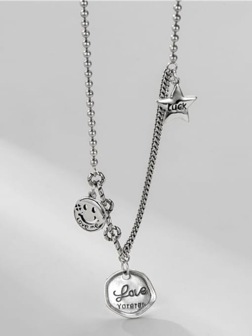 ARTTI 925 Sterling Silver Geometric Vintage Asymmetric chain Necklace