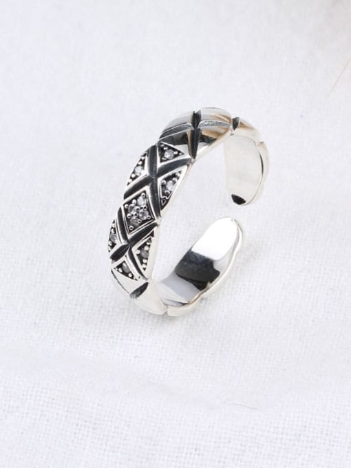 ACE 925 Sterling Silver Cubic Zirconia White Vintage Geometric Band Ring 1