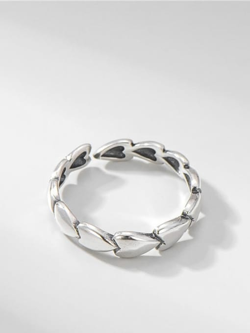 ARTTI 925 Sterling Silver Heart Vintage Band Ring 0