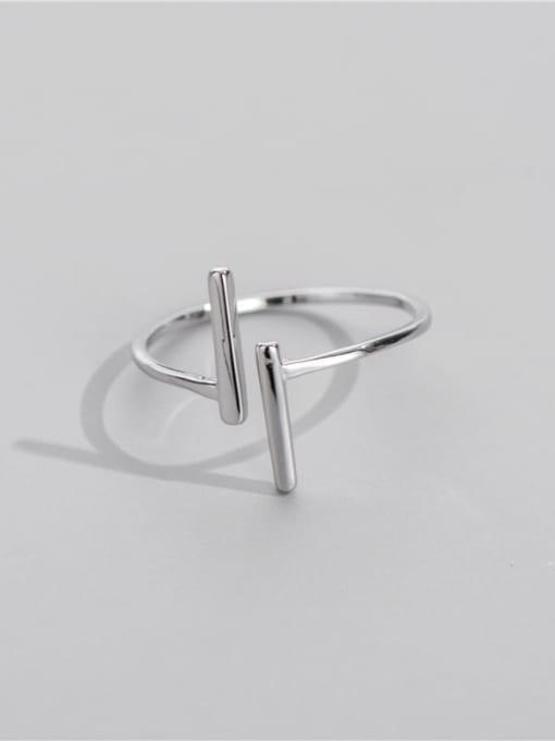 Double herringbone ring 925 Sterling Silver Geometric Minimalist Band Ring