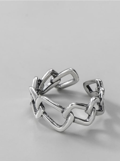 Geometric ring 925 Sterling Silver Geometric Vintage Band Ring