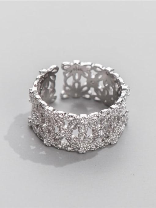ARTTI 925 Sterling Silver Rhinestone Flower Vintage Band Ring 1