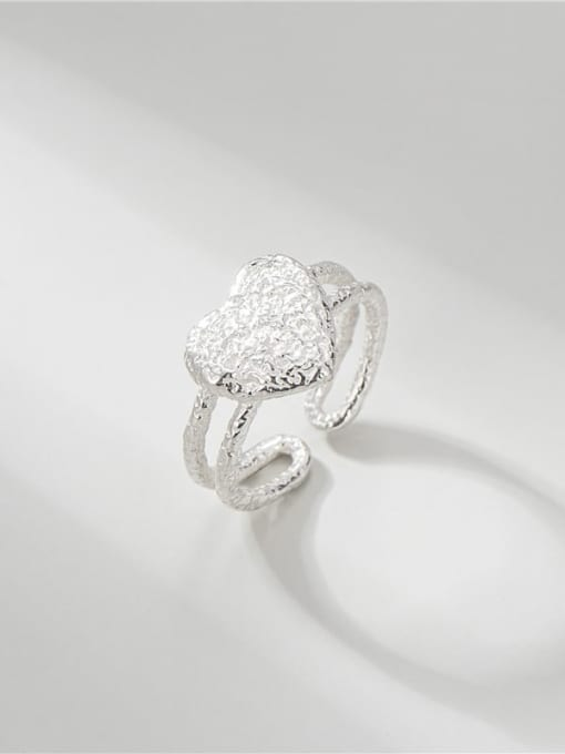 Textured love ring 925 Sterling Silver Heart Vintage Band Ring