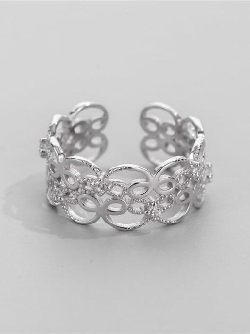 ARTTI 925 Sterling Silver Cubic Zirconia Geometric Minimalist Band Ring 0